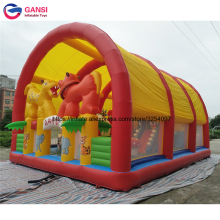 New design inflatable cover ten jumping castle air obstacle course with tent sunshade good price inflatable bouncer castle(China)