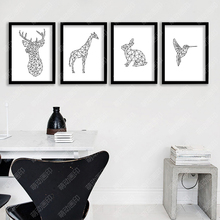 Geometric Deer Posters And Prints Wall Art Canvas Prints Cuadros Wall Pictures For Living Room Canvas Painting No Poster Frame(China)