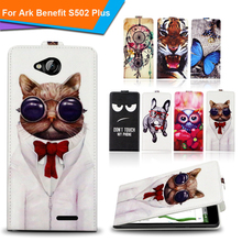 Newest  For Ark Benefit S502 Plus Factory Price Luxury Cool Printed Cartoon 100% Special PU Leather Flip case cover,Gift