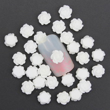 Blueness 3D 50Pcs/lot White Rose Flower Design Nail Art Decoration Resin Studs Charms Jewelry DIY Acrylic Nail Tools Tips PJ207
