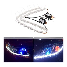 2pcs12V Car LED Strip Headlight Lights Tube Switchback Tear Eye Meteor Light White DRL Daytime Running Amber Signal Light(China)