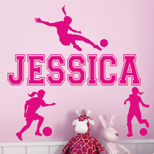 Custom Names Dacals GIRL SOCCER Sport Name Custom Vinyl Wall Decals Sticker Mural Decor Art