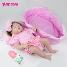 22 inch 55cm KAYDORA Reborn Baby Dolls Handmade Alive Full Silicone Reborn Doll Lifelike Sleeping Girl Babies Toy Christmas Gift(China)