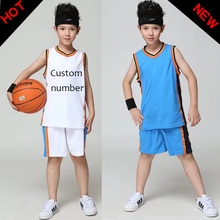 Girl Boy Basketball Jersey Suit Shirts Shorts Children Clothing Basketball Children's Sport Team Training Uniform Clothing Set(China)