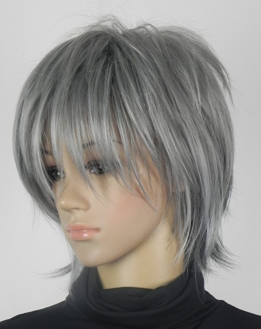 Anime Black Butler Ciel Phantomhive cosplay wig 2015 new fashion women/ mens Short gray and blue mixed layered cosplay wig<br><br>Aliexpress