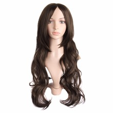 70cm Heat Resistant Charming Woman hair Wig Light Brown Long wavy Fashion Girl Wigs Casual Bangs Wigs (NWG0LO60345-MA2)