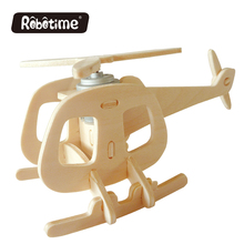 Robotime Solar Energy 3D Wooden Puzzle Handmade Gifts Building Plane Model Assembled Toy Home Decoration Cute Helicopter B P240(China)