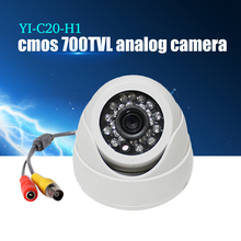 YiiSPO Plastic Mini IR Dome Camera 24pcs LED Video Security Camera Indoor CCTV 700TVL CMOS for Fixed Lens IR CUT night vision(China)
