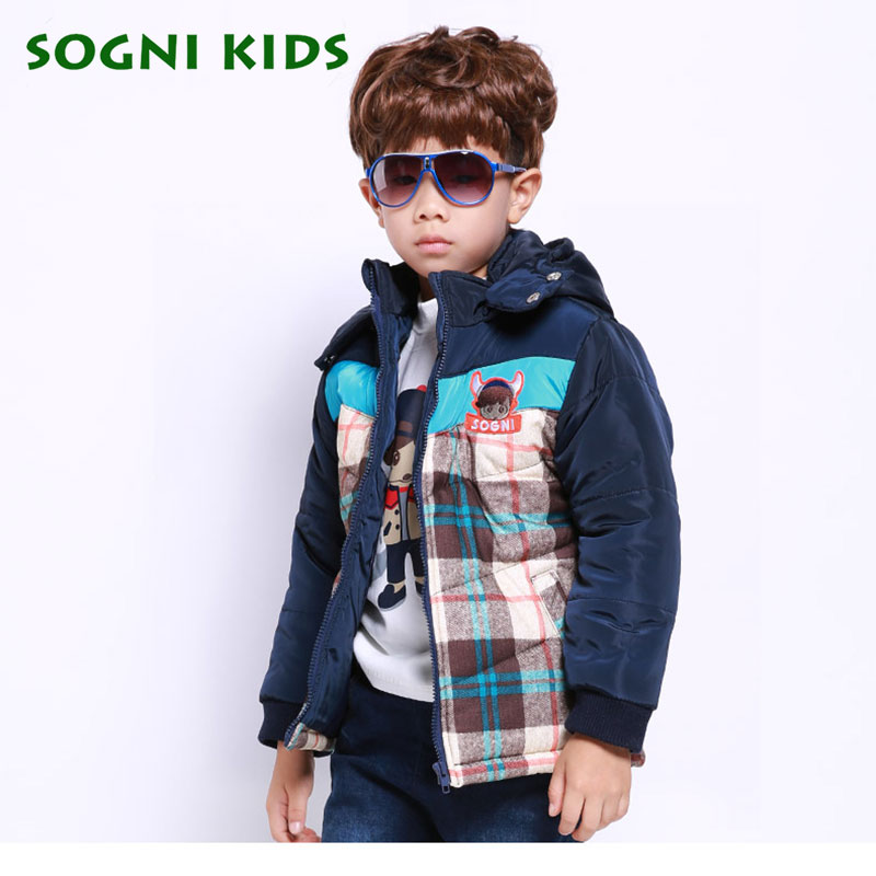 baby boys winter jacket cotton parka thick hooded coat Patchwork Plaid pattern print casual Cardigan kids boys warm outerwearОдежда и ак�е��уары<br><br><br>Aliexpress