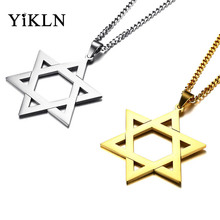 YiKLN Brand Simple Fashionable Men's Pendant Necklaces Gold/Silver Color Stainless Steel Hollow Hexagram Pendant Jewelry YPN833(China)