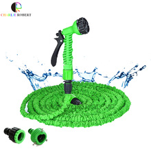 Hot Selling 25-150FT  Expandable Magic Flexible Garden Hose For Car Water Pipe Plastic Hoses To Watering With Spray Gun Green