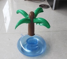 2016 Free Shipping Mini Cute Inflatable Palm Tree Floating Drink Holder PVC Swimming Pool Bathing Beach Party Kids Bath Toy