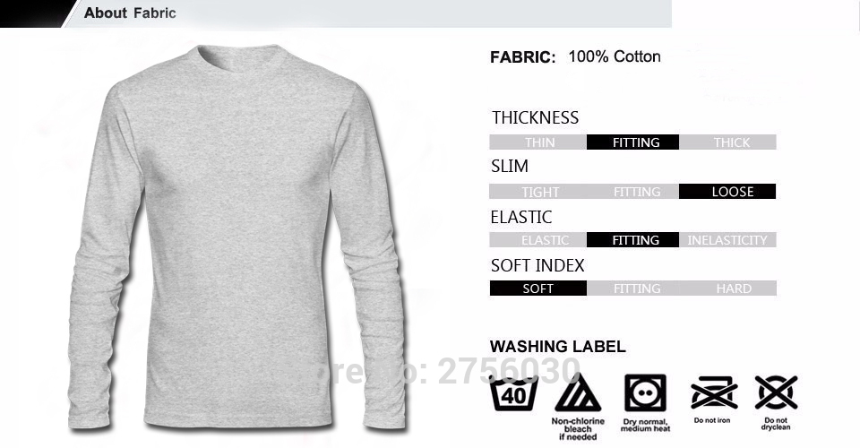 Men\'s T Shirt Tops Wholesale Long Sleeve Screw Neck 100 % Cotton ...