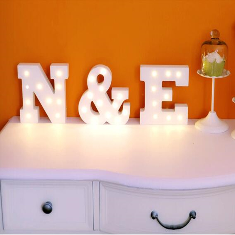 HAOCHU 15cm White Wooden Alphabet Decorative Lights Wedding & Party Window Display Letters Spelling Light Can Freely Combined