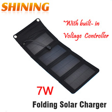 5V 7W Folding Foldable Portable Solar Panel Mobile Phone Charger Kit Solar Camping Mobile Cell Phone MP4 Camera USB Charger(China)