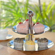 ANHO European Double-layer Fruit Plate Living Room Creative Cake Rack Candy Dessert Afternoon Tea Stainless Steel Snack Holder(China)