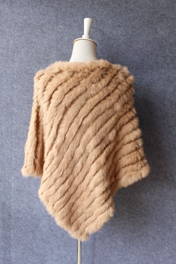 natural knitted rabbit fur scarf wraps (18)