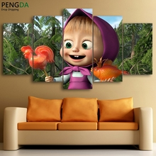 Modern Home Decor Poster Frame Modular Cartoon Painting 5 Pieces HD Printed Masha And The Bear Canvas Wall Art Pictures PENGDA
