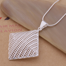 Classic Silver Jewelry Big Hollow Square Necklace For Women Exquisite Design AN203(China)