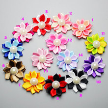 "2"" Pearl Center Satin Fabric Flower for Headbands, DIY Hair Flowers Girl Hair Accessories, Cloth Flower Embellishments"