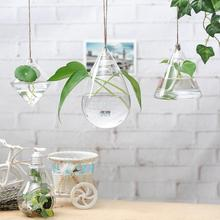 2017 Hot Sale Creative Clear Rhombus Glass Flowerpot Mini Hanging Flower Water Plant Vase Bottle Home Living Room Decor