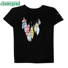 CHAMSGEND Good Deal Trendy Women Hole Casual Short Sleeve Shirt Tops Fashion T-shirt 1PC_U00442