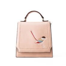 Fashion Women Bag Birds Embroidery Handbag Leather Brand Shoulder Messenger Bag Retro Metallic Buckle Packag High Quality 178(China)