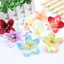 10pcs/lot 8cm Real Touch Silk Orchid Mini Artificial Flower Heads For Wedding Home Decoration Orchis Cymbidium Flowers Cheap(China)