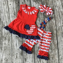 baby girls summer clothing children July 4th Patriotic clothes girls red minnie outfits kids star stripe capri with accessories