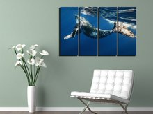 BANMU 4 Piece Frameless Swimming Whale In Blue Sea Canvas Print Animal Pictures Wall Art Oil Painting for Living Room Decoration