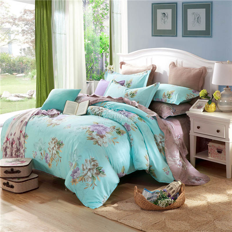 New Floral Bedding Set 100% Cotton Linen Twin Full Queen King Size Bed Quilt/Duvet/Doona Cover Set PillowCases Home Textile 3PCS(China (Mainland))