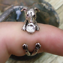 Drop Shipping retro Italy Greyhound Ring free size hippie animal  dog Ring with White rhinestone jewelry for pet lovers