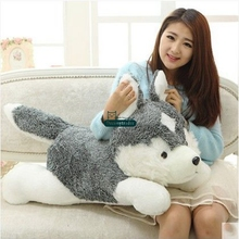 Dorimytrader New Hot 100cm Giant Cute Simulated Animal Husky Plush Toy Big Stuffed Cartoon Dog Doll Pillow Baby Gift DY61608(China)