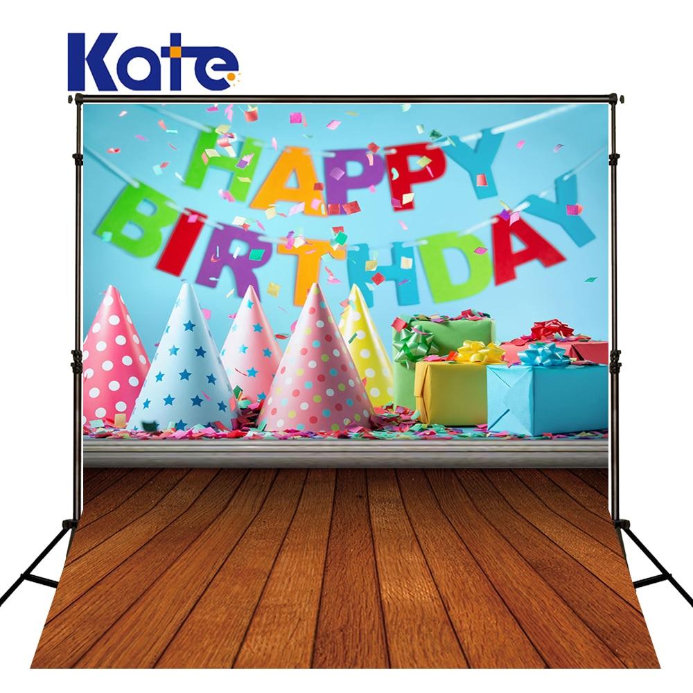 Kate 5X7FT Children Background for Birthday Photography Happy Birthday Gift Photography Backdrops Wood Floor Backgrpunds<br>