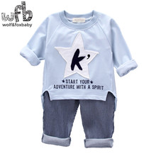 Retail 1-4 years set long sleeves T-shirt + pants child children spring fall autumn printed word and K