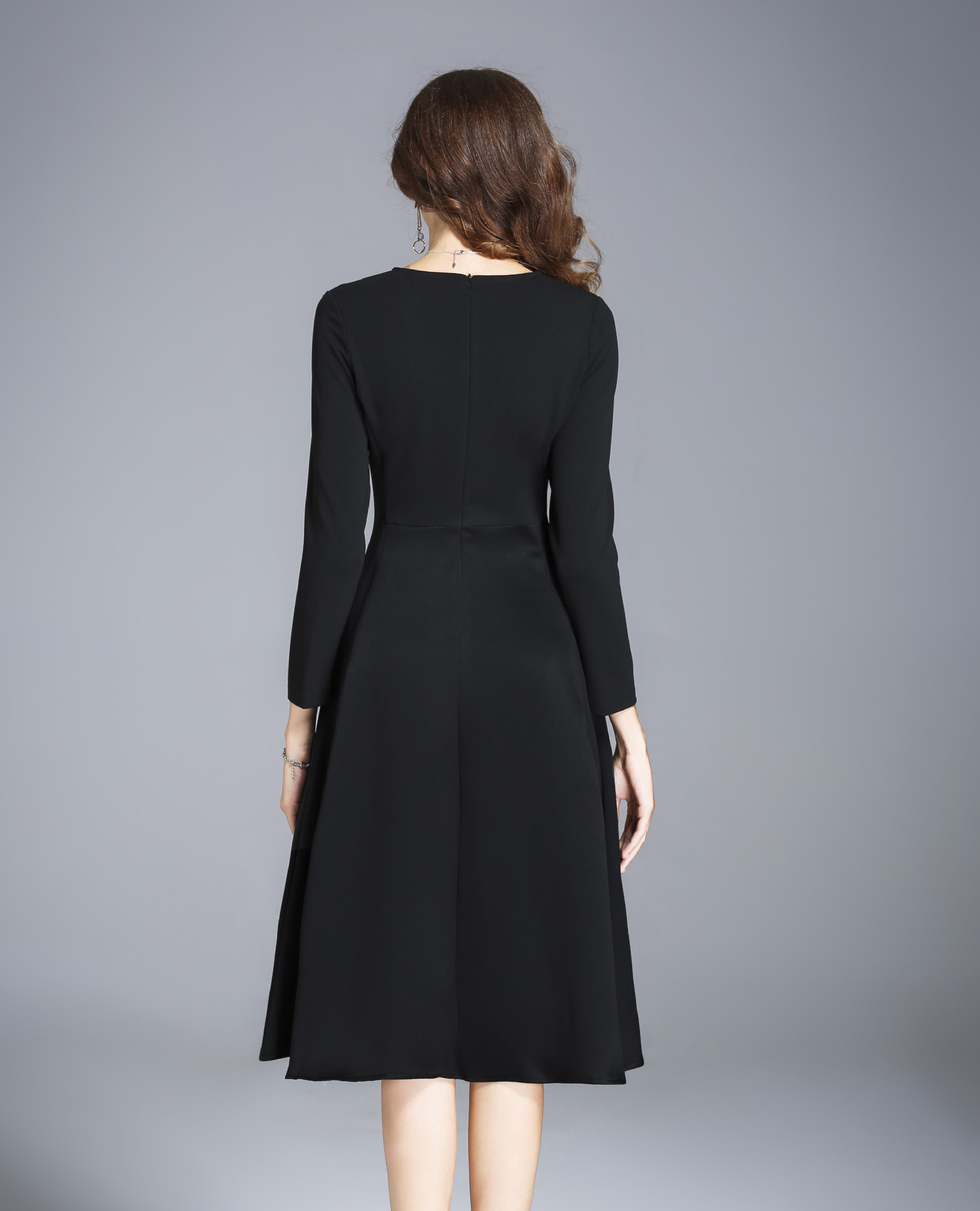 Girl Winter Autumn Women Casual Long Dresses Evening Party Dress Female Long Sleeve Black Sexy Midi Dress Office Pleated Dress