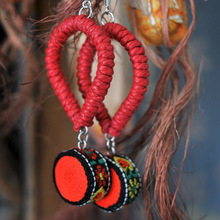 New Original  Ethnic statement jewelry  handmade wax rope dangle earrings National flavor weave knit lace earrings,