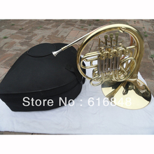 Wholesale - double row 4 key single French horn FB key French horn with case surface gold