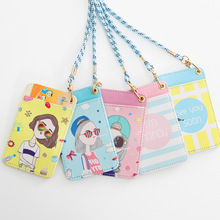summer women credit card case holder student cartoon PU work badges bus ID business cards cover sets key chain keyring lanyard