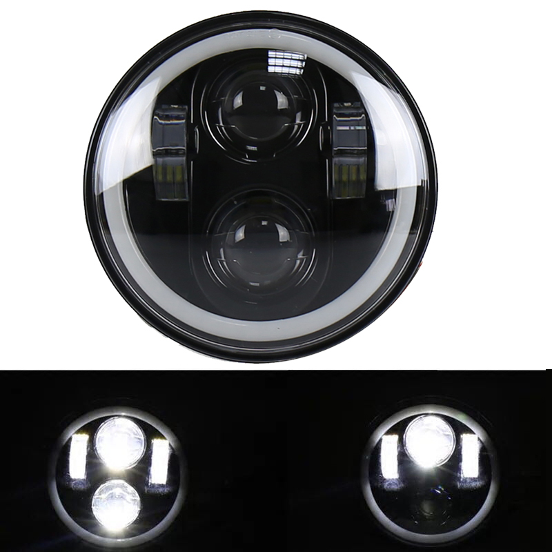 6 5.75inch RGB Halo Motorcycle LED Headlight 5 34\'\' 40W Harley Headlamp Angel Eyes with Bluetooth Controller for Harley Davidson