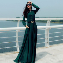 Buy Women Maxi Dress Winter New Long Dresses Vestidos Femininos Long-Sleeved Fashion Solid Vestido Dress Womens Clothing Dress C1760 for $29.70 in AliExpress store