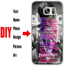 DIY Photo Name White Transparent Black Hard Phone Case Cover Shell Coque for Samsung Galaxy S3 S4 S5 S6 S7 S8 Mini Edge Plus