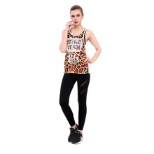 2017 New Grenadine Leopard Print Women Sleeveless Summer Jerseys Plus Size 3d Print Fitness Running Jogging Sports Tops