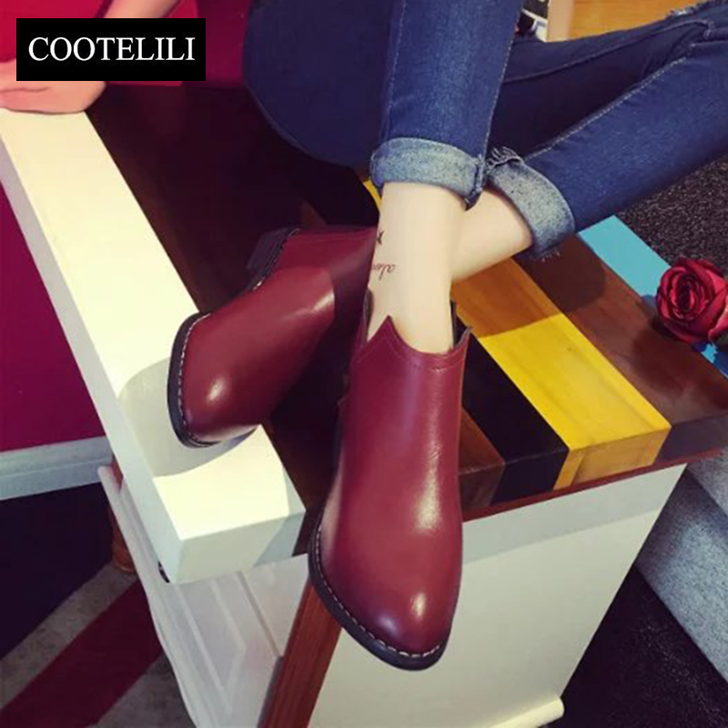 COOTELILI Fashion Slip On Ankle Boots Women Flat Zipper Rubber Shoes For Women Red Black Gray PU Leather Flat Boots Ladies<br><br>Aliexpress