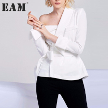 Buy EAM 2018 new spring skew collar solid color white loose bandage bow shirt women blouse fashion tide JD79200S for $22.00 in AliExpress store