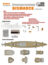 1/700 Bismarck, the German Navy battleship wooden deck  Warship Retrofit parts Assembly model