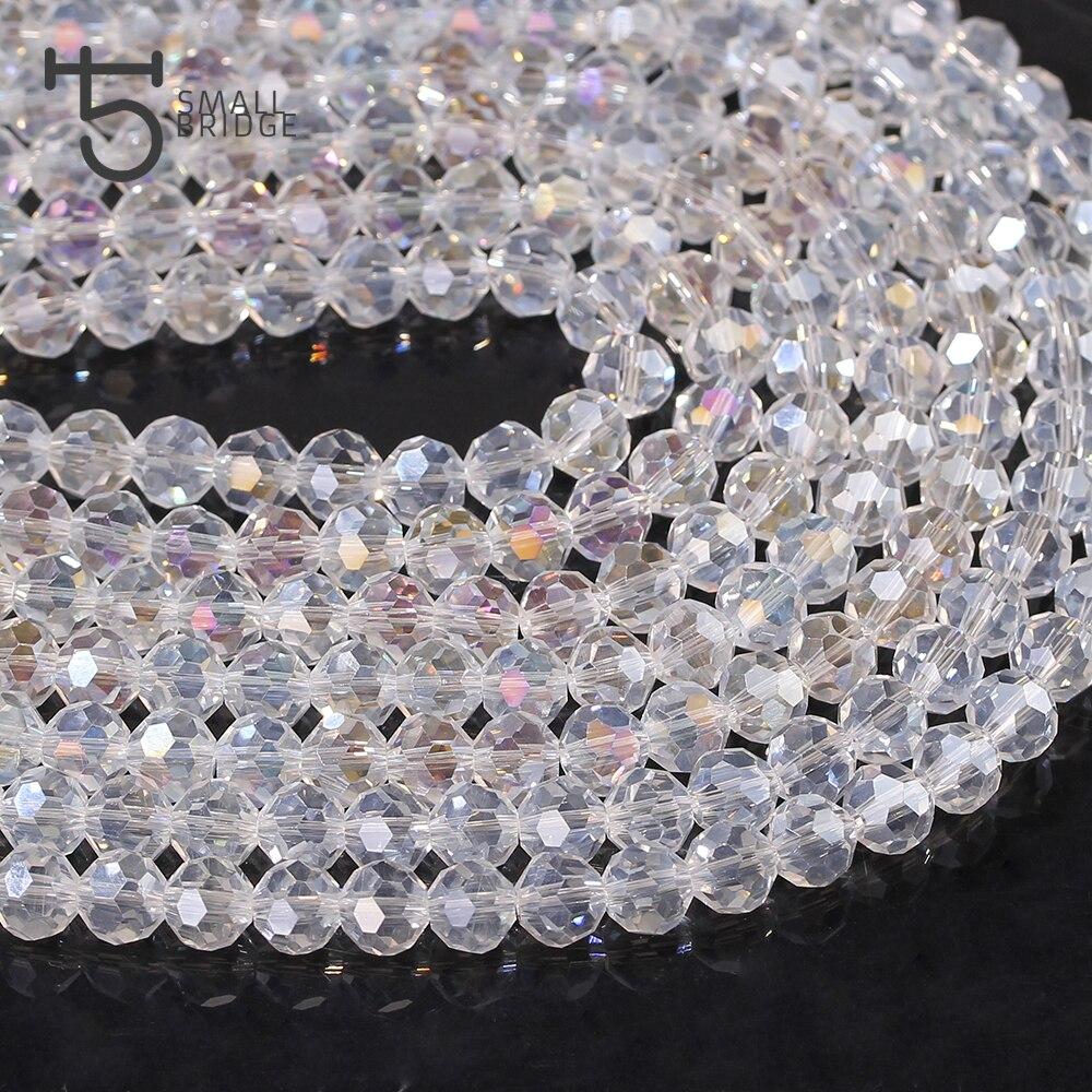 10 perles rondes  à facettes 8  mm transparentes cristal de Chine
