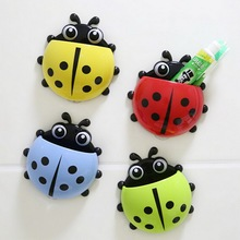Cartoon Sucker Toothbrush Holder Suction Hooks Lovely Ladybug Toothbrush Wall Suction Bathroom Accessories