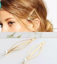 Fashion Simple atmosphere European style jewelry wild imitation pearl gold hairpin side clip hair accessories hairpin headdress
