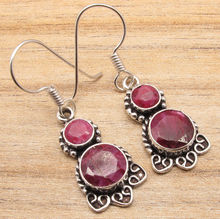 Cut Finish Red rubi 2 Stone Earrings ! WELL MADE Silver Plated Fashion Jewellery